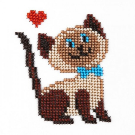 Набор для вышивания бисером LOUISE арт. L405 'Кошка' 11х11