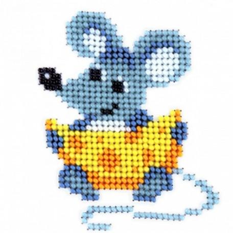 Набор для вышивания бисером LOUISE арт. L418 'Мышь с сыром' 11х11