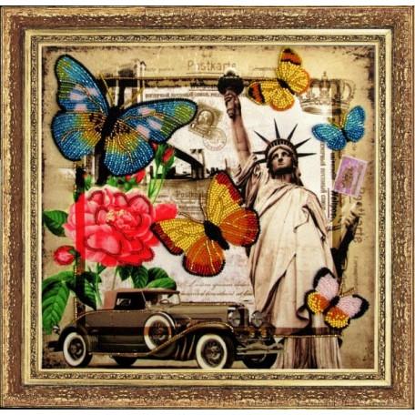 Набор для вышивания BUTTERFLY арт. 111 Привет из Америки 26х27 см