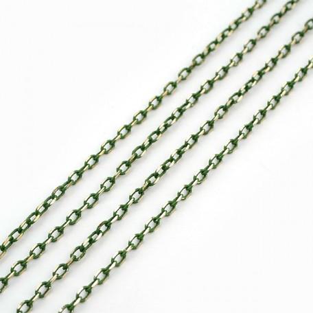 Фурнитура IDEAL plus Цепочка 2 х 3 мм цв. зеленое золото арт.13010145 уп.1 м