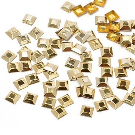 Стразы IDEAL термоклеевые металл арт.HTF-4.2G 5х5 мм цв.золото уп.1400шт