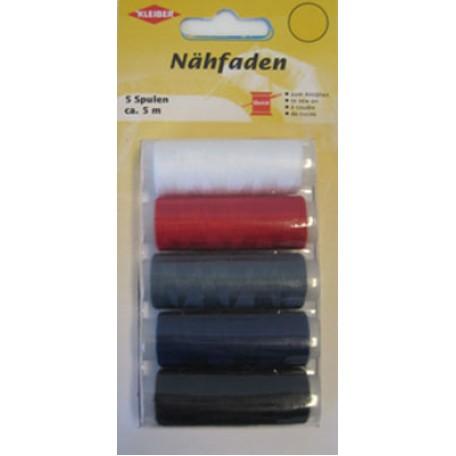 KL.710-09 Набор швейных ниток № 60, 100% полиэстер, 5шт (белый, красный, серый, синий, черный) по 120м в упаковке