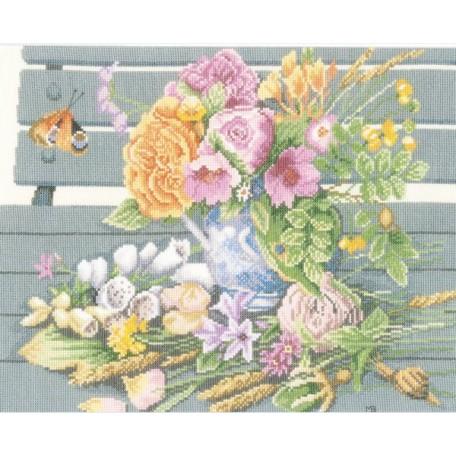 Набор для вышивания арт. LANARTE РN-0146981(Цветы на скамейке) 36х28 см