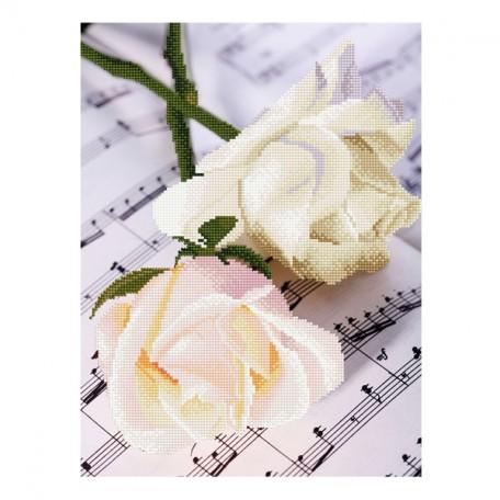 Картины мозаикой Molly арт.EZD021 Частичная Выкладка Симфония Роз (25 Цветов) 30х40 см