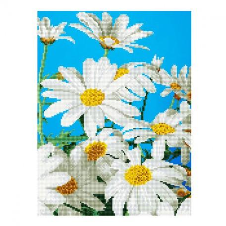 Картины мозаикой Molly арт.EZD046 Частичная Выкладка Ромашки (20 Цветов) 30х40 см