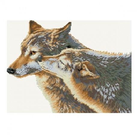 Картины мозаикой Molly арт.GZ036 Волчья Нежность (23 Цвета) 40х50 см