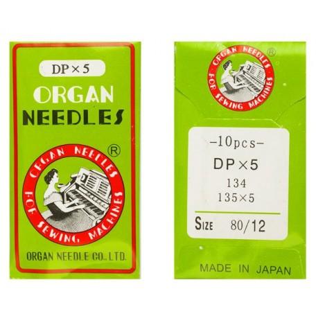 Иглы ORGAN арт.DPx5 № 80/12 уп.10шт./для 1-игольн.ПШМ челн. стежка 2-иг.выс-скор.легк.тк.(стачиван