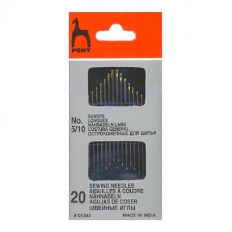 PN.01363 PONY Иглы швейные разм. 5-10 уп.20 шт