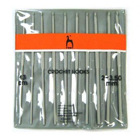 PN.44220 PONY Набор крючков вязальных 2.00-3.50 13 см уп.10 шт