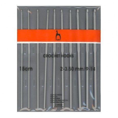 PN.45220 PONY Набор крючков вязальных 2.00-3.50 15см уп.10 шт
