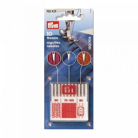 PR.152101 PRYM Иглы для бытовых швейных машин универсальные с плоской колбой кожа джерси уп.10шт в п