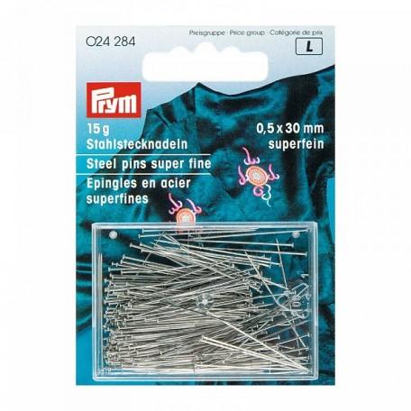 PR.24284 PRYM Булавки 30*0,50мм закаленная сталь с защитой от ржавчины цв. серебро уп.15г