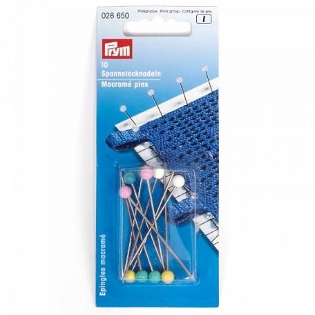 PR.28650 PRYM Булавки для макраме с защитой от ржавчины, с пласт. головкой 55х1,15мм блистер 10шт