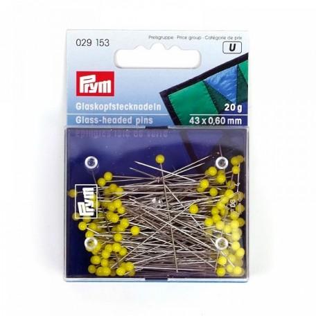 PR.29153 PRYM Булавки со стеклянными головками, желтые, термоуст. закаленные для шитья 43х0,60мм бан