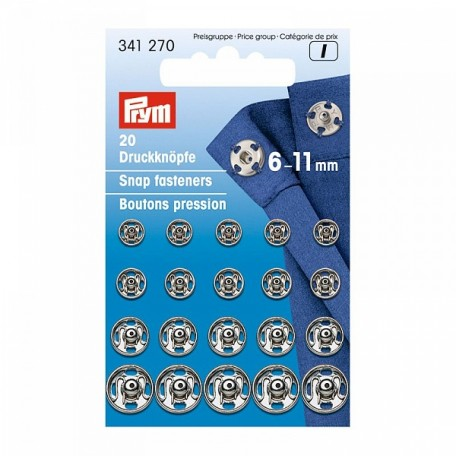 PR.341270 PRYM Пришивные кнопки с отверстием д/фиксации 6-11мм латунь нержавеющие отбортованная нижн