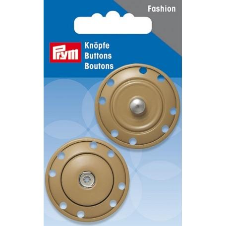 PR.341831 Кнопки пришивные металл с защитой от коррозии цв.бежевый 35мм
