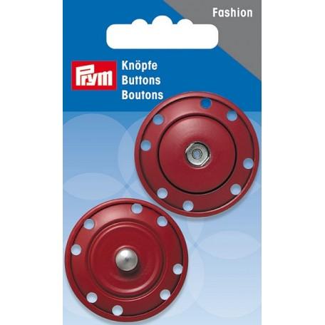 PR.341833 Кнопки пришивные металл с защитой от коррозии цв.темно-красный 35мм