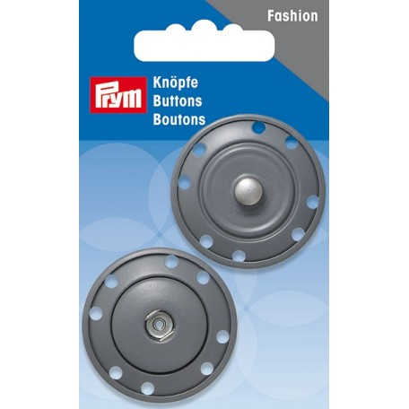 PR.341839 Кнопка пришивная металл с защитой от коррозии цв.серый 1пара в упаковке 35мм