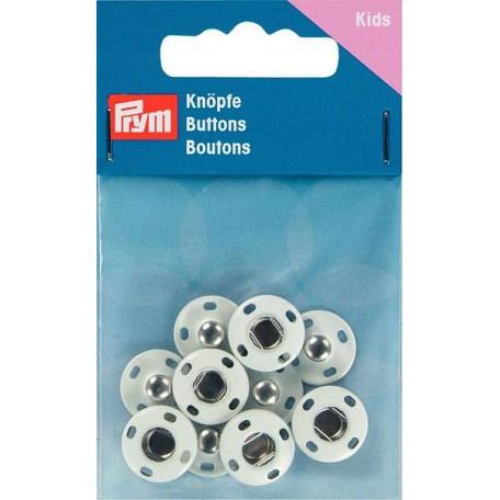 PR.341900 Кнопки пришивные нержавеющие, латунь цв.белый уп.5шт 14мм