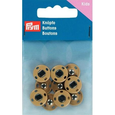PR.341901 Кнопки пришивные латунь, нержавеющие цв.светло-бежевый, уп.5шт 14мм