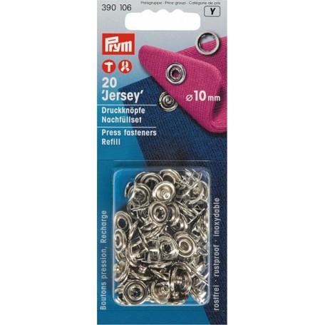 PR.390106 Пополняемая упаковка для кнопок Джерси (без насадок) 390107 цв.серебристый, уп.20шт 10мм