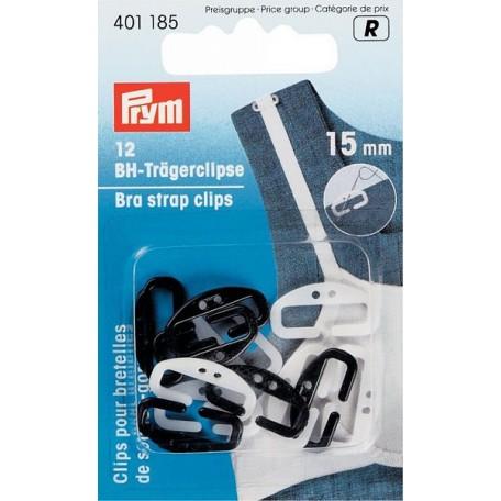 PR.401185 PRYM Клипсы для бретелей бюстгалтера 15мм пластик, белый/черный уп.12шт