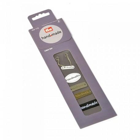PR.403775 PRYM Набор пришивных этикеток 'Handmade' (металл, пластик, лента) 5 эмблем/5 ткан.этикеток