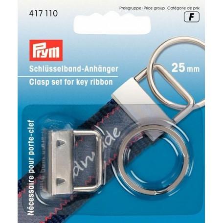 PR.417110 Набор из кольца и застежки для изготовления брелока, металл, серебристый 25мм