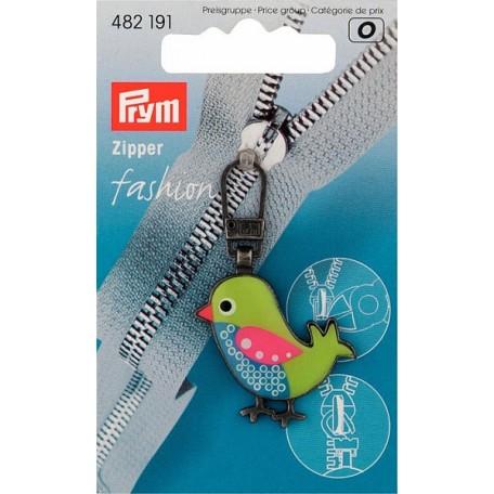 PR.482191 Подвеска для молнии 'Птица' с карабином, металл, цв.зеленый/синий
