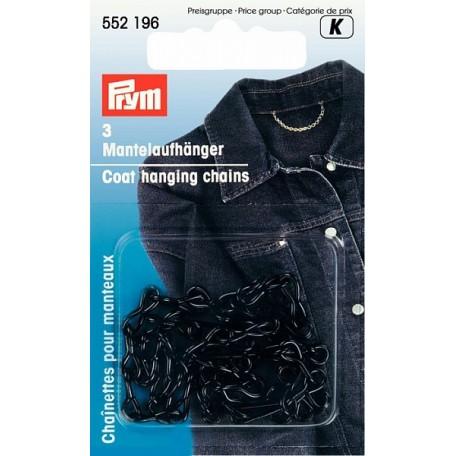PR.552196 Петля-вешалка д/пальто, прочная, цепь, железо, с защитой от коррозии цв.черный уп.3шт