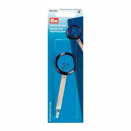 PR.610355 PRYM Пинцет с лупой с линзой для 4-кратного увел. пластик/металл цв. фиолетовый/серебристы