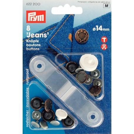 PR.622200 Джинсовые кнопки пластик/латунь, нержавеющие цв.состаренной меди уп.8шт 14мм