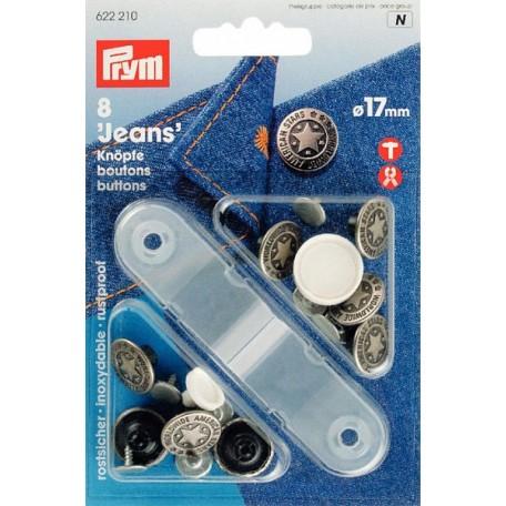 PR.622210 Джинсовые кнопки пластик/латунь, нержавеющие цв.состаренного серебра, уп.8шт 17мм