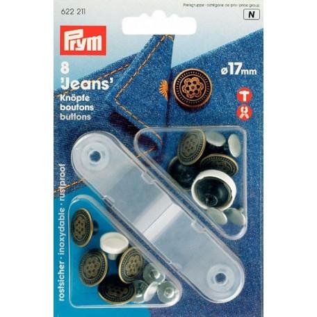 PR.622211 Джинсовые кнопки пластик/латунь, нержавеющие цв.состаренной латуни уп.8шт 17мм