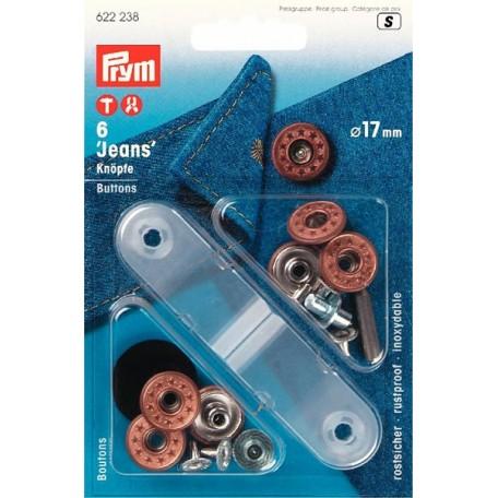 PR.622238 Джинсовые кнопки пластик/латунь, нержавеющие цв.состаренной бронзы уп.6шт 17мм