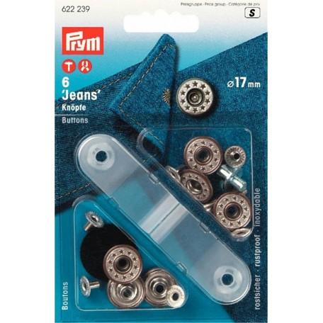 PR.622239 Джинсовые кнопки пластик/латунь, нержавеющие цв.состаренной латуни уп.6шт 17мм