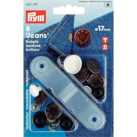 PR.622241 Джинсовые кнопки пластик/латунь, нержавеющие цв.состаренной меди уп.8шт 17мм