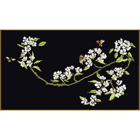 Набор для вышивания арт.Gouverneur-1047.05 'Цветущая груша' / Черная канва 24х44 см