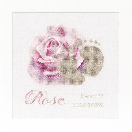 Набор для вышивания арт.Gouverneur-508 'Метрика Роза' 15х15 см