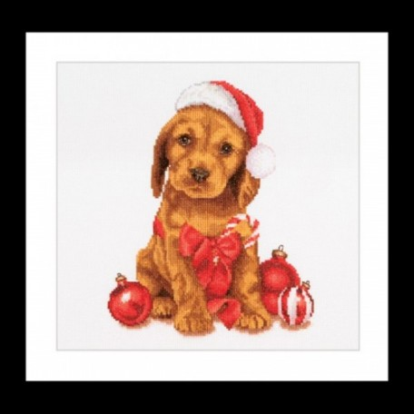 Набор для вышивания арт.Gouverneur-730 A 'Рождественский щенок' 31х30 см