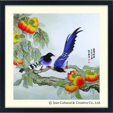 Набор для вышивания крестом Xiu Crafts арт.XC.102 Сороки и Хурма 58х58 см