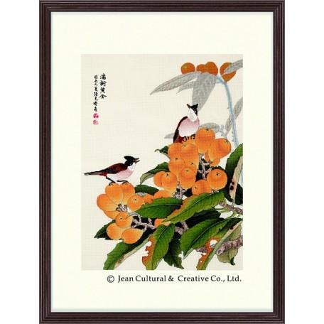 Набор для вышивания крестом Xiu Crafts арт.XC.114 Птицы на золотистой локве 34х46 см