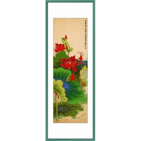 Набор для вышивания крестом Xiu Crafts арт.XC.126 Красный лотос 101,6х34,29 см
