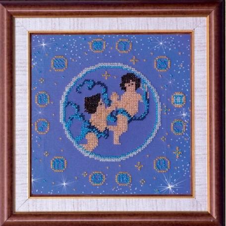Набор для вышивания бисером АБРИС АРТ арт. AB-007-1 'Близнецы' 23х23 см