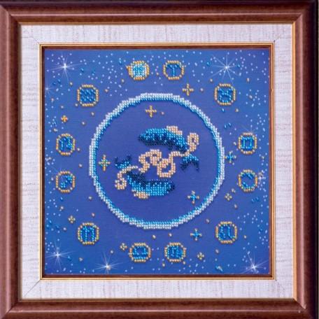 Набор для вышивания бисером АБРИС АРТ арт. AB-007-12 'Рыбы' 23х23 см