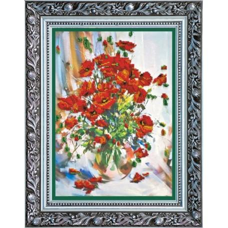 Набор для вышивания бисером АБРИС АРТ арт. AB-009 'Маки' 25,5х35 см