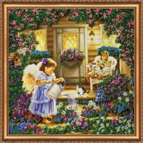 Набор для вышивания бисером АБРИС АРТ арт. AB-013 'Ангелы' 35х35 см