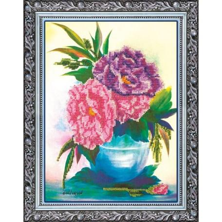 Набор для вышивания бисером АБРИС АРТ арт. AB-016 'Пионы' 28х35 см