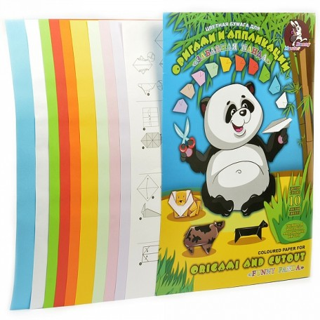Набор цветной бумаги для оригами и аппликации арт. ЛХ.ПО-9203 'Забавная Панда' А3 10 цв. 10л