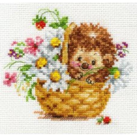 Набор для вышивания арт.Алиса - 0-113 'Ежик в ромашках' 13х11 см